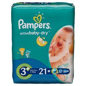 Подгузники  Active Baby Midi Plus (5-10 кг), 21 шт. Pampers