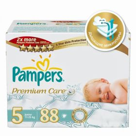 Подгузники Premium Care Junior р.5 (11-18 кг) 88 шт. Pampers