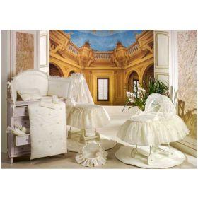 Шелковые эмоции - Балдахин для кроватки с бантом и вышивкой BabyPiu
