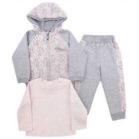 Soni Kids Комплект одежды Парижские каникулы лонгслив, толстовка, штаны (серо-розовый) Soni Kids