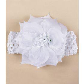 POLLO Бант Повязка с цветочком (белая) POLLO