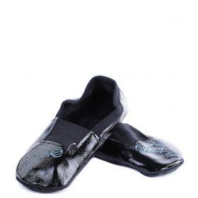 Колибри, Чешки с вышивкой для девочки (черный лак с голубым дельфином) Колибри
