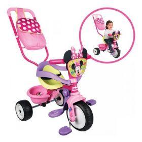 Smoby, Трехколесный велосипед трансформер с сумкой, Minnie Smoby