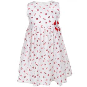 FLOBABY, Платье для девочки (белое/принт красные якоря) FLOBABY