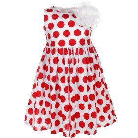 FLOBABY, Платье для девочки (белое/красный горох) FLOBABY