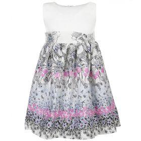 FLOBABY, Платье для девочки (белое/серый принт) FLOBABY