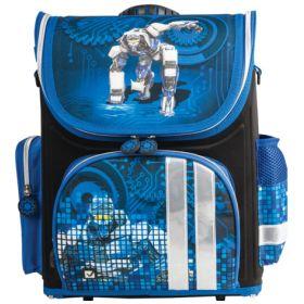 BRAUBERG Ранец раскладной для мальчика Робот (синий) BRAUBERG