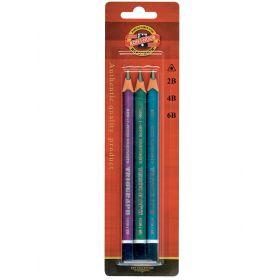 Набор чернографитных толстых, трехгранных карандашей Triograf (3 штуки) Koh-i-Noor