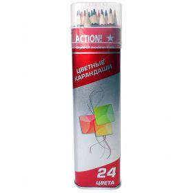 Набор карандашей в металлическом тубусе (24цвета) Action!